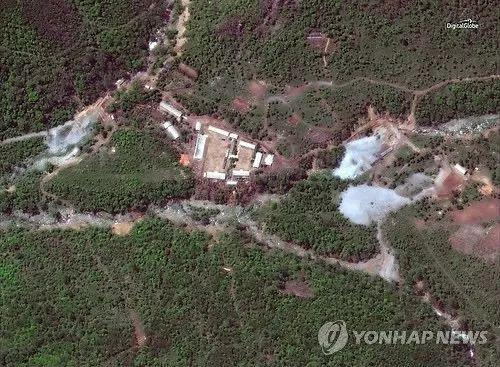 ▲DigitalGlobe于5月23日拍摄的丰溪里核试验场卫星图像(韩联社/路透社)