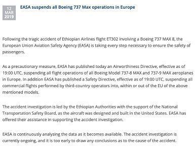 欧盟航空安全局停飞波音737-8和波音737-9机型