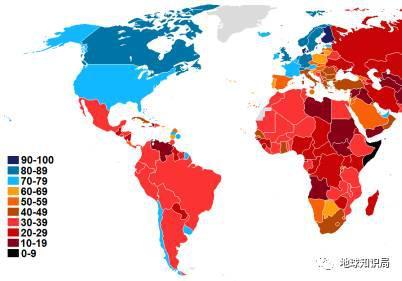 透明国际发布的2015年各国清廉指数示意图