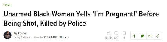 """▲手无寸铁的黑人女性大喊:""""我怀孕了!"""" 接着就被警方枪杀了 (via Splinternews)"""