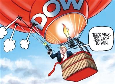 """特朗普乘坐""""道琼斯""""牌热气球,一边高喊""""贸易战很容易赢"""",一边开枪打向了自己乘坐的热气球。(来源:创作者网站&加利沃夫网站)"""