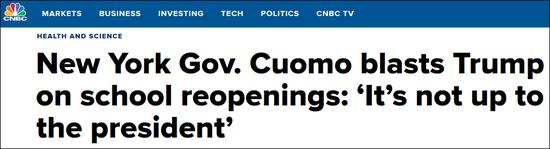 特朗普命令学校秋季重新开学 纽约州州长:你没这权力