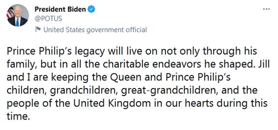 菲利普亲王去世 拜登刚刚发推悼念
