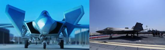 ▲歼-20(左)与F-35拼版照片