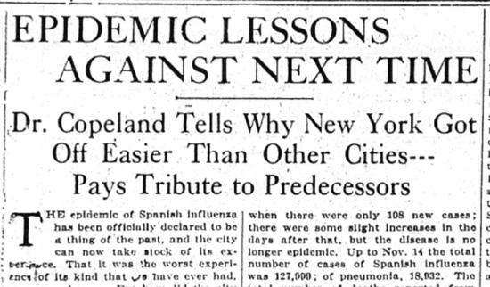 """科普兰1918年11月17日接受《纽约时报》采访宣传纽约""""成功经验""""。"""