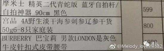 案发后,朱晓东大肆挥霍,购物清单显示他买了名牌服饰及男性补品
