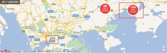▲惠州大亚湾位于深圳东边