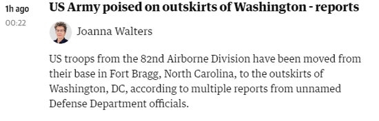 英媒曝美军第82空降师约700名士兵在华盛顿附近军事基地集结