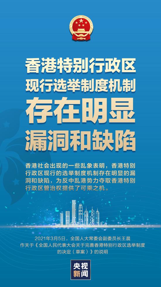 重磅说明:为何要完善香港特别行政区现行选举制度?怎么完善?图片