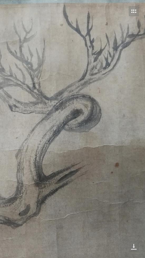 """《木石图》中的""""苏轼画迹""""局部"""