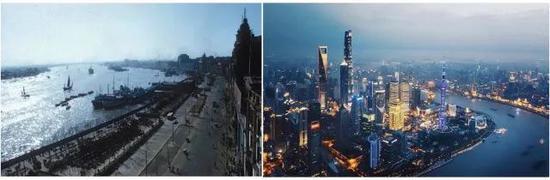 上海,1972年3月,摄影:William A。 Joseph (左),现今的上海(右)