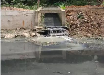 裹挟着垃圾的污水倾流而下进入海仔大排坑