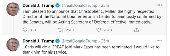 特朗普:防长埃斯珀职务已被终止 米勒将任代理防长