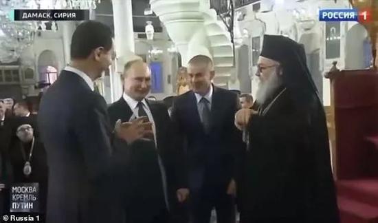 普京和阿萨德在大马士革的东正教堂
