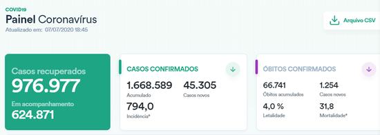 巴西卫生部网站截图