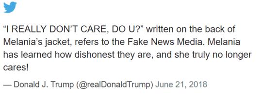 """特朗普在推特上写道""""她真的不在乎了"""""""