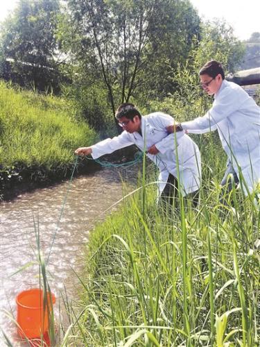 督查组成员在一条河边采样。图片来源:北京青年报