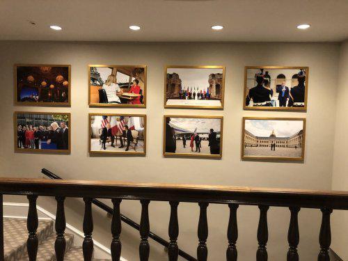 不久前,白宫西厢办公室墙壁曾挂满美法首脑会晤照片