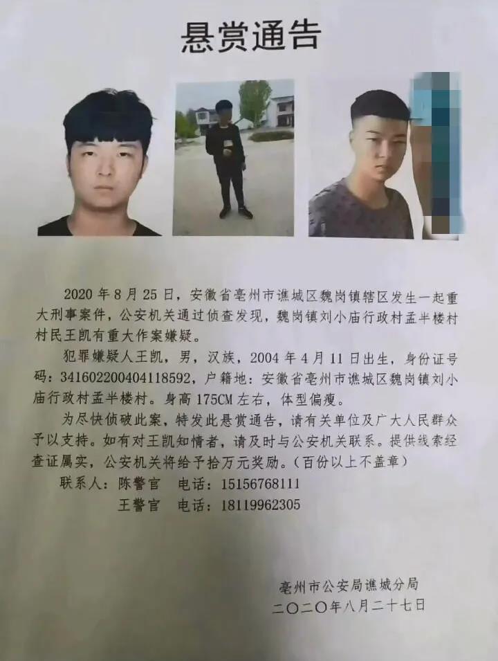 安徽亳州16岁男子涉重大刑案,警方悬赏10万通缉