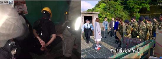 左图:治港份子被喷鼻港差人拘捕左图:剧中差人要将门生们带回警局
