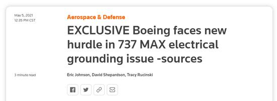 外媒:波音737MAX因电气接地问题面临复飞新障碍