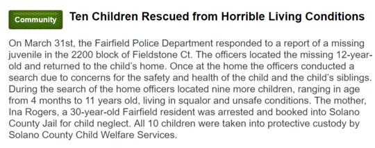 加州Fairfield地区警方发表声明
