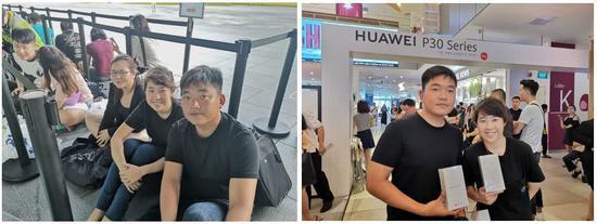 伊维林?泰和其未婚夫在发售现场 图自新加坡媒体