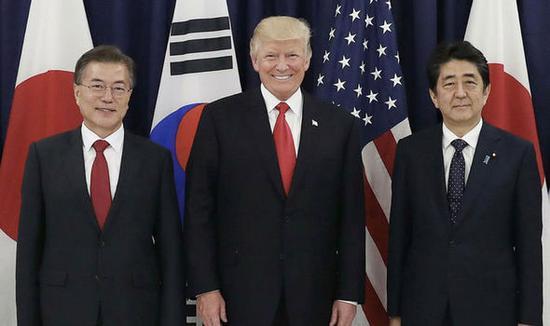 美日韩领导人合影