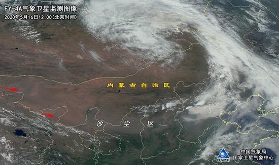 FY-4A景象卫星12:00沙尘监测图(图片泉源:国度卫星景象中央)