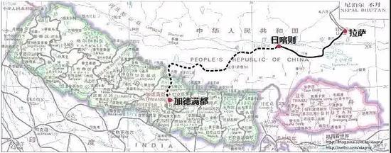 跨境铁路示意图 实线部分已建成