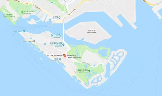 圣淘沙岛位于新加坡南端(谷歌地图截图)