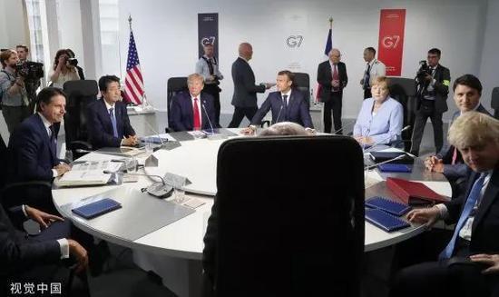 ▲當地時間2019年8月26日,七國集團領導人蔘加一個會議。