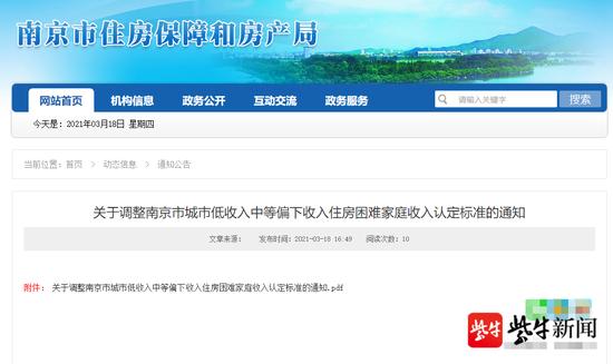 南京调整城市中低收入住房困难家庭标准 中等偏下:家庭月人均可支配收入4291元图片