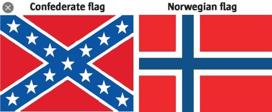 左图为邦联旗帜、右图为挪威国旗