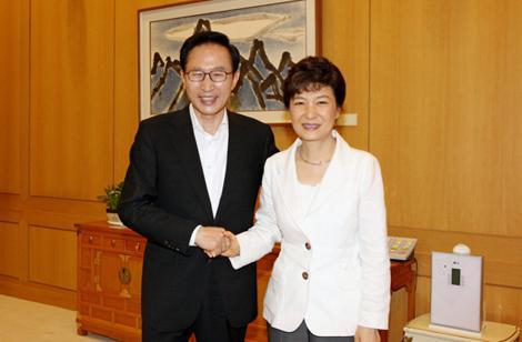朴槿惠与李明博的合影