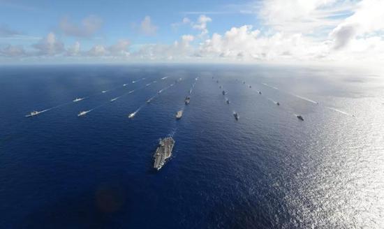 """2016年""""环太平洋""""(RIMPAC 2016)联合军演27国舰艇阵容。"""