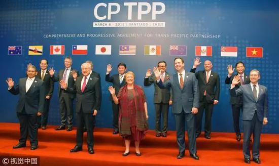 △2018年3月,智利聖地亞哥,11國代表舉行CPTPP簽字儀式