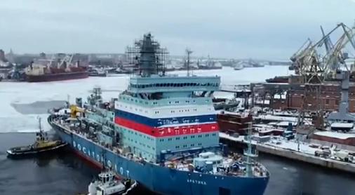 """▲ 去年12月,排水量3.35万吨的俄罗斯""""北极""""号核动力破冰船完成首次航行试验"""