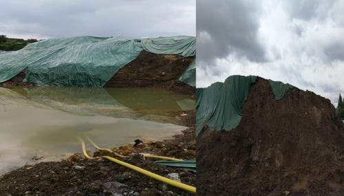 含铅废渣堆场集水严重、防渗膜破裂。图片来源:生态环境部官方微博