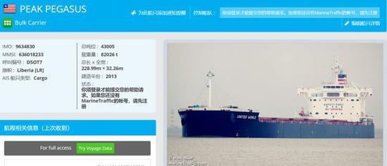 Marine traffic网站关于飞马峰号的资料页面