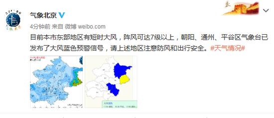 北京市气象局:目前本市东部地区有短时大风,阵风可达7级以上图片