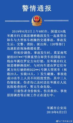 大客车与重型货车在广西岑溪相撞 致10人受伤