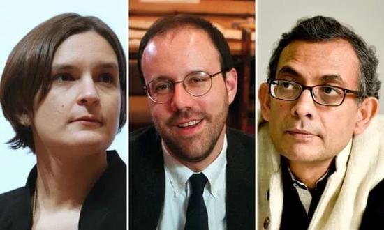 △从左至右为:埃丝特迪弗洛、迈克尔克雷默、阿比吉特班纳吉 图源:英国 《卫报》