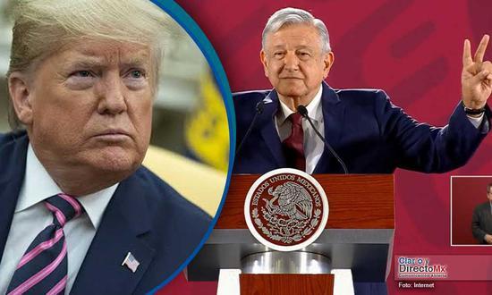 △图为美国总统特朗普 (左) 墨西哥总统 洛佩斯 (右)