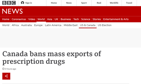 想大批进口加拿大低价处方药?美国被拒了!
