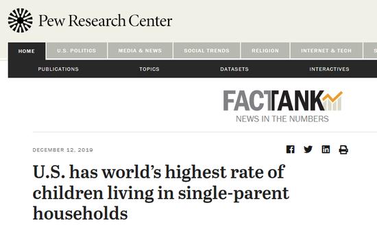 美国单亲家庭儿童比例靠近1/4 全世界最高