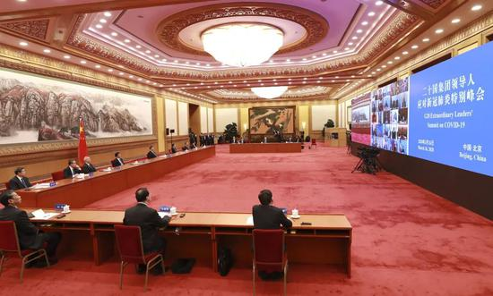 """初次G20領導人""""雲會議"""" 習近平怎樣說?圖片"""