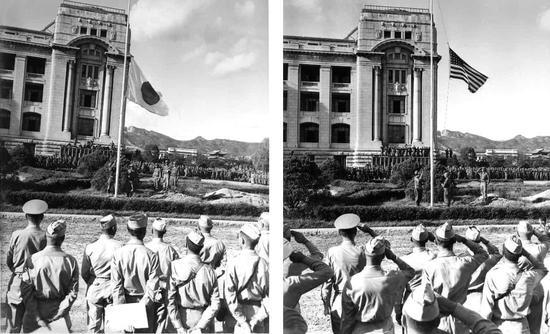 日军在汉城向美军投降,日本国旗换成星条旗。(推特)
