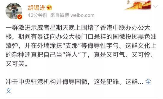 胡锡进:香港这帮暴徒好一副怂相 又可气又可笑
