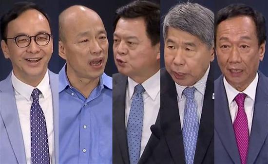 国民党初选民调的五位参选人(图源:中时电子报)